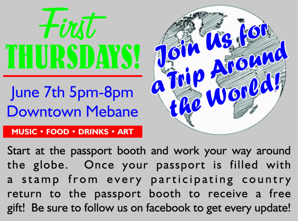 Join us for a trip around the world! Start at the passport booth and work your way around the globe. Once your passport is filled with a stamp from every participating country, return to the passport booth to receive a free gift!